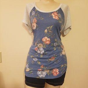 Blue Flowered Torrid Short Sleeved Tee